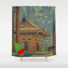 Asano Takeji Japanese Woodblock Print Vintage Mid Century Art Shinto Shrine Forest Shower Curtain