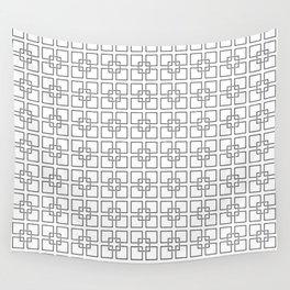 Black Interlocking Geometric Square Pattern on White Wall Tapestry