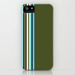 Stripes on kaki background - turquoise - ivory - limited edition 30/30 iPhone Case