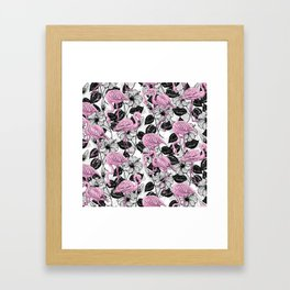 Flamingos and hibiscus flowers Framed Art Print