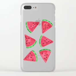 Watermelon Slices Pattern Clear iPhone Case