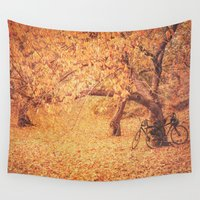 bicycles Wall Tapestries featuring Autumn - New York City by Vivienne Gucwa