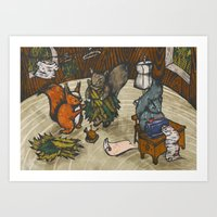 sewing Art Prints featuring Sewing Room by Kelsey Oseid