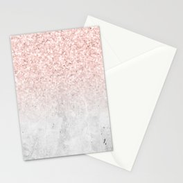 She Sparkles Rose Gold Pink Concrete Luxe Stationery Cards