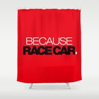 subaru Shower Curtains featuring BECAUSE RACE CAR v6 HQvector by Vehicle