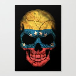 Dark Skull with Flag of Venezuela Canvas Print