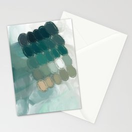 Green abstract art Stationery Cards