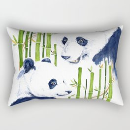 """""""Harmony"""" Panda and Bamboo Watercolor Rectangular Pillow"""