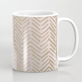 Bohemian, Herringbone, Abstract, Pattern, Blush Pink and Gold Coffee Mug