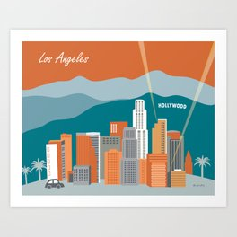 Los Angeles, California - Skyline Illustration by Loose Petals Art Print