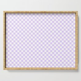 Chalky Pale Lilac Pastel Color and White Checkerboard Serving Tray
