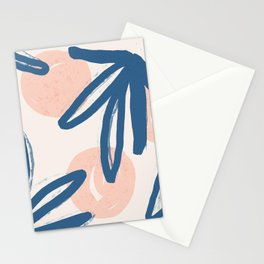 Lovely abstract hand paint art with leaves on pastel background illustration pattern Stationery Cards