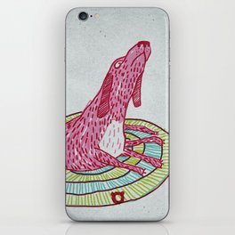 006_pink dog iPhone Skin