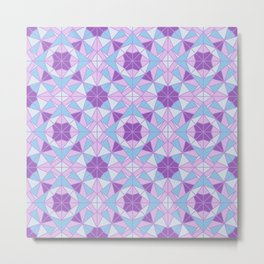 Ethnic mosaic pattern in purple and blue tones Metal Print