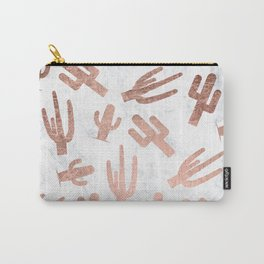 Modern rose gold cactus cacti pattern on white marble Carry-All Pouch