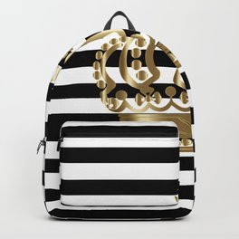 Black and White Stripes and Gold Crown 1 Backpack
