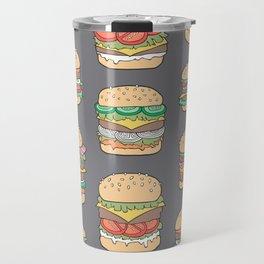 Hamburgers Junk Food Fast food on Dark Grey Travel Mug
