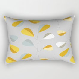 Mid Century Modern Graphic Leaves Pattern 2. Pastel Grey Rectangular Pillow