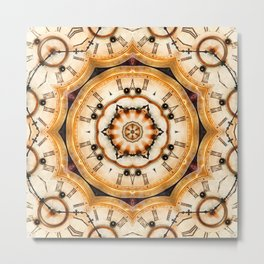 Multiple traditional antique clock faces with Roman numerals shown in conceptual  abstract shapes Metal Print