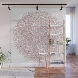 Rose Gold Marble Mandala Wall Mural