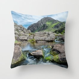 Tryfan Mountain Stream  Throw Pillow