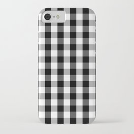 Large Black White Gingham Checked Square Pattern iPhone Case