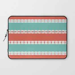 South Western Print in Modern Aqua Turquoise and Coral Geometric Diamonds Arrows Triangles Circles Laptop Sleeve