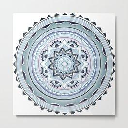Muted Pastel Mandala - Blue, Green, Lavender  Metal Print