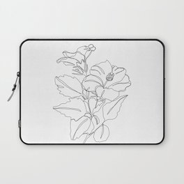 Floral one line drawing - Hibiscus Laptop Sleeve