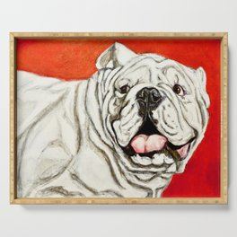 Uga the Bulldog Painting - Red Background Serving Tray