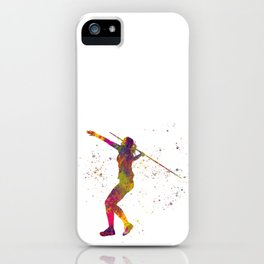 Javelin throw in watercolor.Sports iPhone Case