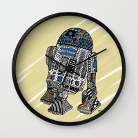 r2d2 Wall Clocks featuring R2D2 by Rebecca Bear