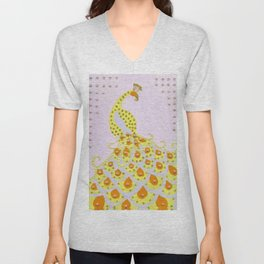 Peacock in Yellow Unisex V-Neck