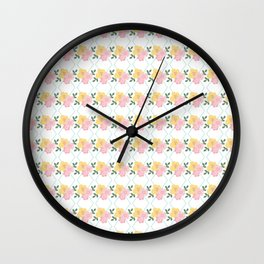 Geometric pastel pink yellow modern floral Wall Clock