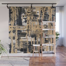 Black and Gold abstract painting Wall Mural