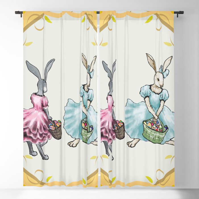 Dressed Easter Bunnies 2 Blackout Curtain