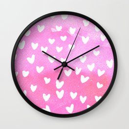 WHiTE HEARTS PINK WATERCOLOR by C'EST LA VIV Wall Clock