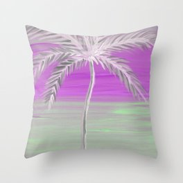 frosty palm tree in front of a bold violet sky Throw Pillow