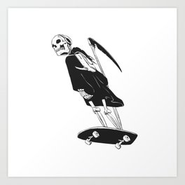 Grim reaper skater - funny skeleton - gothic monster - black and white Art Print