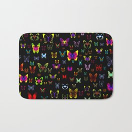 Numerous colorful butterflies on a neutral background Bath Mat