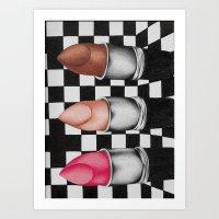 checkered lipstick Art Print