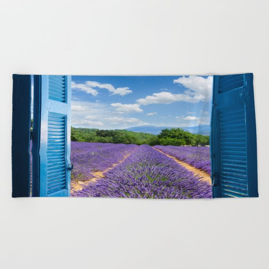 wooden shutters, lavender field Beach Towel
