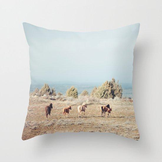 Oregon Wilderness Horses Throw Pillow