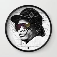 lakers Wall Clocks featuring Eazy Muthafuckin E by Rogemil Velasco