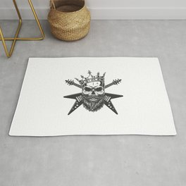 Cranio De Estrela Do Rock Vintage Na Coroa Rug