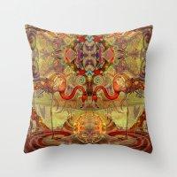 flamingos Throw Pillows featuring Flamingos by Waelad Akadan