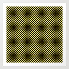 Black and Blazing Yellow Polka Dots Art Print