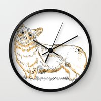 corgi Wall Clocks featuring Corgi!!!! by katieWalkerDesigns