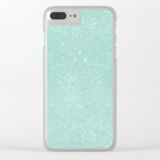 Pastel Turquoise Glitter Clear iPhone Case