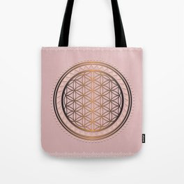 Peach and Gold Flower of Life - Sacred Geometry Tote Bag